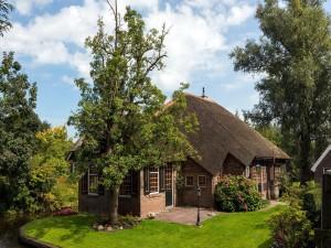 Magnífica casa entre grandes árboles y a orillas de un canal