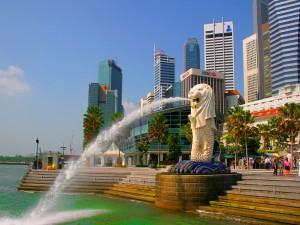 Estatua en la ciudad de Singapur
