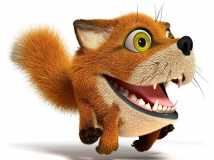 Gracioso zorro en 3D corriendo