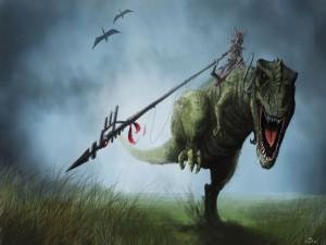 Montando a un dinosaurio