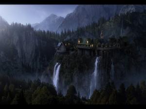 Castillo sobre un acantilado en el bosque