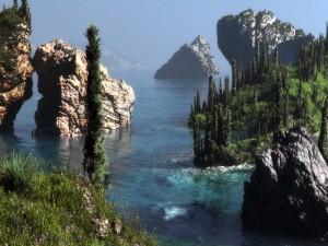 Grandes rocas en el agua
