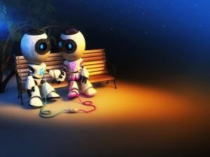Pareja de robots enamorados