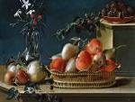 """""""Bodegón de frutas y florero de cristal"""", pintura del español José Ferrer"""