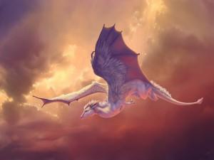 Dragón blanco volando
