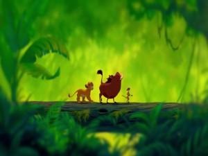 Simba, Timón y Pumba cantando Hakuna Matata