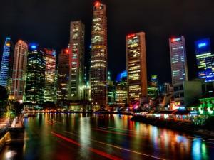 Visión nocturna de Singapur