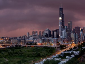 Amanecer nuboso en Chicago
