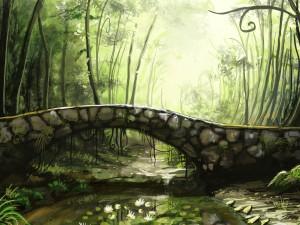 Puente de piedra en un bosque