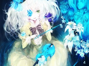 Chica anime tocando el violín