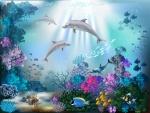 Fondo marino con peces de colores, arrecifes, corales y delfines