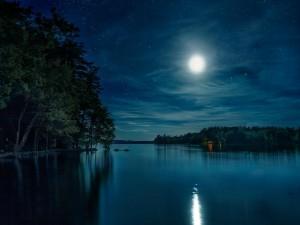 La luna iluminando el lago