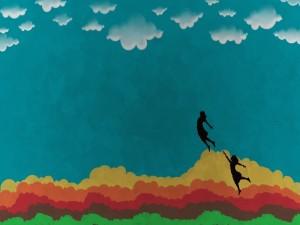 Caminando sobre nubes de colores