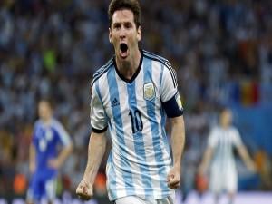 Messi celebrando un gol en la Copa Mundial Brasil 2014