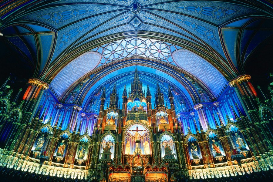 Interior de la Basílica Notre-Dame de Montreal (Canadá)