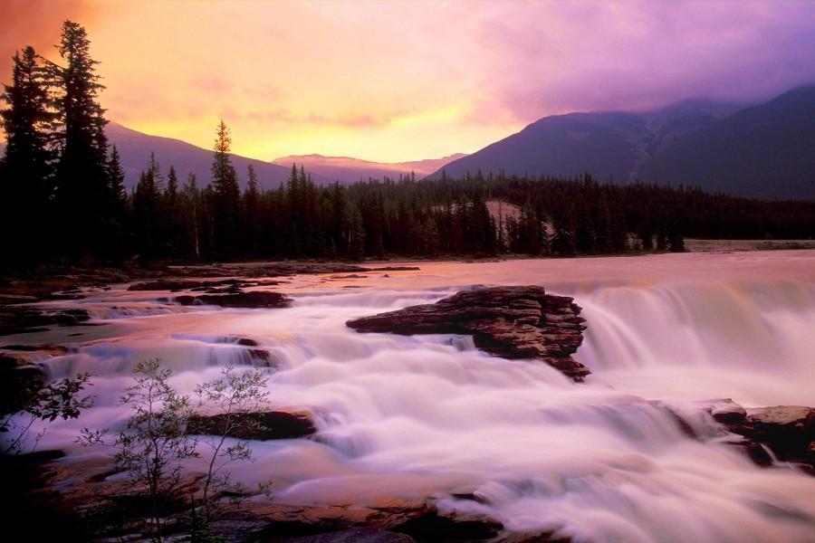 Hermoso río fluyendo en cascadas