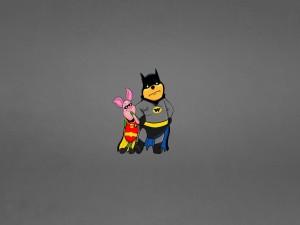 Winnie the Pooh vestido de Batman y su amigo Piglet de Robin
