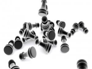 Varios peones de ajedrez en 3D