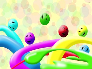Bolas con caritas felices