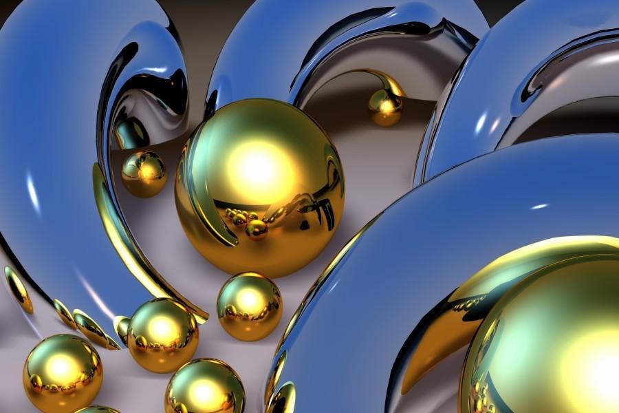 Esferas de color dorado entre unos tubos