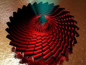Tubos de color rojo formando un espiral con un halo de luz en el centro