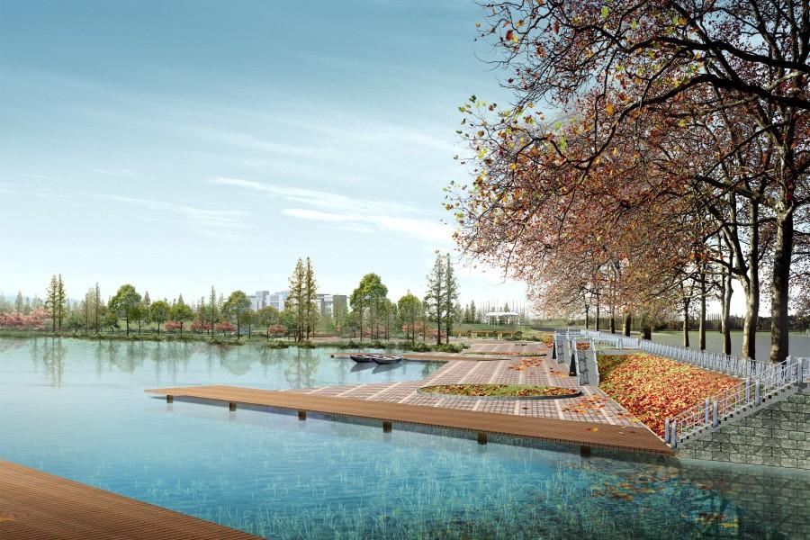 Gran muelle en el lago