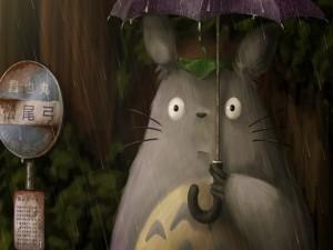 Totoro con un paraguas bajo una lluvia (Mi Vecino Totoro)