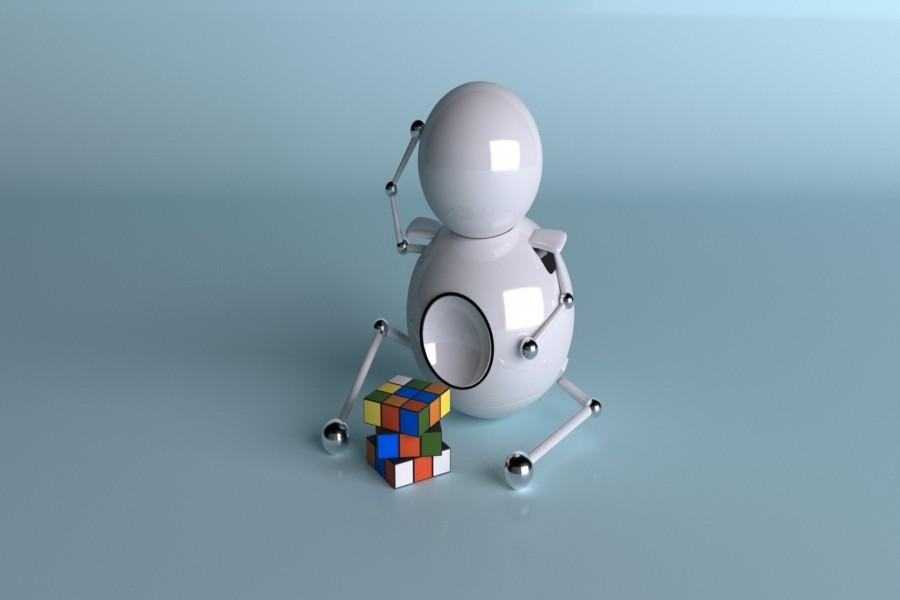 Robot jugando con un cubo de Rubik