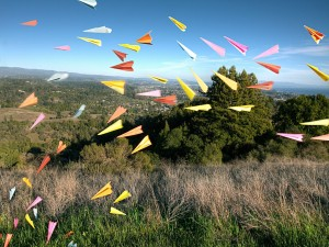 Aviones de papel en el campo
