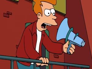 Phillip J. Fry hablando a un parlante al revés (Futurama)