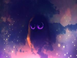Búho en el cielo nocturno