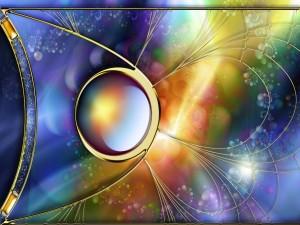 Esfera metálica con un fondo multicolor