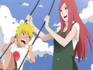 Naruto balanceado en un columpio por su madre Kushina