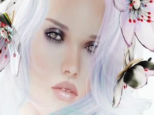 Bella cara de mujer entre flores