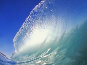 Grande y perfecta ola en el océano