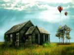 Globos sobre una casa de madera