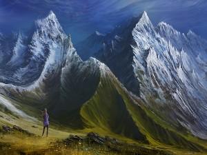 Una mujer se encuentra al pie de las montañas