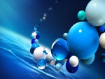 Bolas blancas y azules sobre el agua