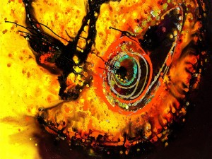 Pintura abstracta de una mariposa y toques de color