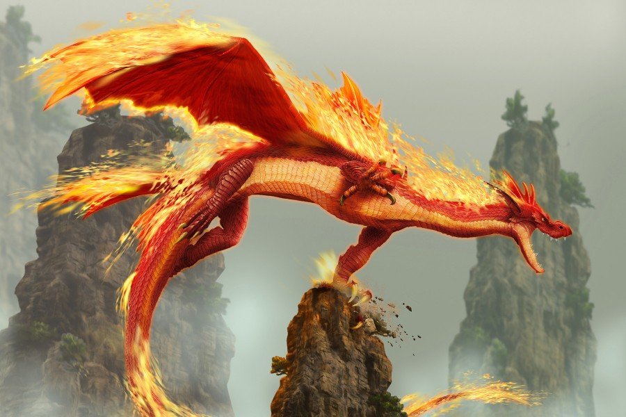 Flameante dragón en un acantilado de la roca