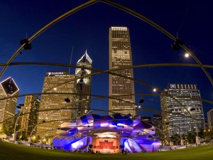 Noche en Millennium Park (Chicago)