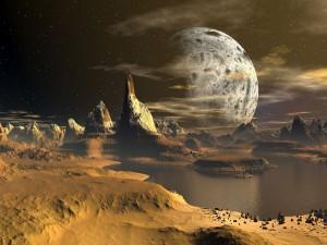 Paisaje del espacio con planetas