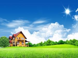 Una bella casita de campo en los verdes prados