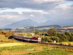 Tren cruzando por hermosos paisajes rurales