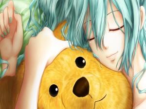 Chica anime durmiendo con su oso de peluche