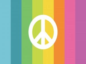 Símbolo de la paz sobre un arcoíris