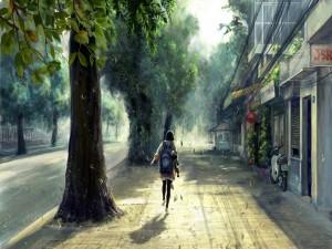 Caminando bajo las hojas