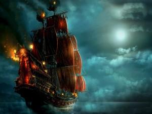 Gran barco pirata navegando en la noche