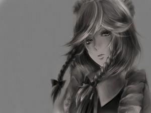 Chica anime con lágrimas en los ojos