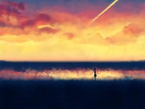 Paseando bajo un hermoso cielo